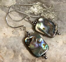 Paua Shell aka Abalone & .925 STERLING SILVER Earrings Sundance Artisan