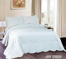 Michelle Super Soft Plush Embroidery Bedspread Set 3 Pcs Queen Size (Off White)