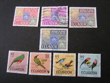 ECUADOR, SCOTT # 744-747(4)+751-751C(4),196-66 STAMP CENT.+ BIRDS ISSUE USED