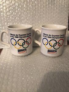 Pair Federal Express - OLYMPICS SEOUL1988 SOUVENIR CERAMIC COFFEE TEA MUGs Cups~
