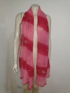 Pink Red Metallic Embroidered Pure Silk Scarf Shawl Craft Fabric Home Decor