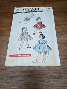 Advance Vintage Infant Size 1 Dress+panties pattern 1950's #7969 ADORABLE