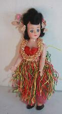 "Vintage Hawaiian Doll Movable Eyes Bands In Neck & Shoulders Hard Plastic 7 1/2"""