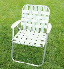 Lawn Chair Aluminum Frame Webbed White Aqua Purple Orange Plastic Arms