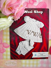 Vintage Knitting Pattern Baby Girls Dress & Cardigan Set. Beautifully Detailed