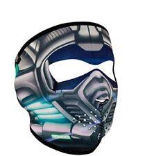 Titanium Robot Cyber Skull Neoprene Full Face Mask Biker Reversible To Black