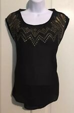 Ecote Women's Size Small Black Open Back Studded Blouse Sheer Career Top Shirt