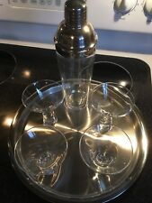 Gorham Reindeer Martini Set- 6 Pcs 4 Glasses Shaker Stainless Steel Tray-New