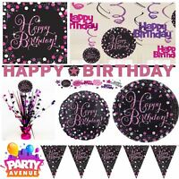 Pink Sparkling Celebration Happy Birthday Party Tableware Decorations Balloons