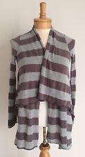 Pleione Striped Open Cardigan Sweater Womens Small Gray