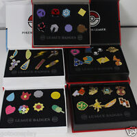 Total 5sets Poke Gym Badges Gen League Complete Set of 8 Pins with Badge Box