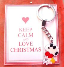 "Keep Calm & Love Christmas ""Cool Dude"" Snoopy & Heart Romantic Keyring Gift Card"