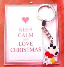 "Keep Calm & Love Christmas ""Cool Dude"" Snoopy & Heart Romantic Keyring Gift Card"