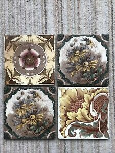 4 Mixed Victorian Ceramic Tiles 6 in x 6 in