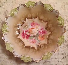 """R.S. Prussia Marked 10 1/4"""" Bowl Contoured Mold Roses"""