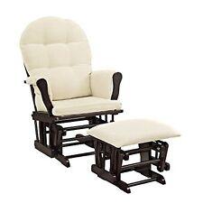 Windsor Glider & Ottoman Storage Pockets and Removable Cushions Espresso & Beige