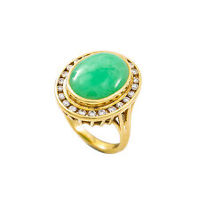 18K Yellow Gold Oval Jade 0.70 Ct H SI2 Diamond Ring 10.8 Grams Size 7