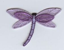 Iron On Embroidered Applique Patch Small Purple Sheer Layered Dragonfly