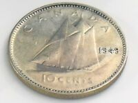 1949 Canada Ten 10 Cent Silver Dime Circulated Canadian George VI Coin I556