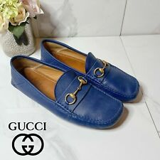 Gucci Mens Driving Shoes Loafers Slip On Horsebit Navy Blue Plain Leather US 11