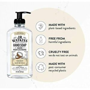 JR Watkins Natural Plant Based Hand Soap Coconut 11 Oz