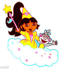 """5"""" DORA BOOTS PRINCESS UNICORN ON CLOUDS CHARACTER FABRIC APPLIQUE IRON ON"""
