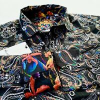 Robert Graham Paisley Indigo Colorful Print Apax Classic Fit Sport Shirt $198
