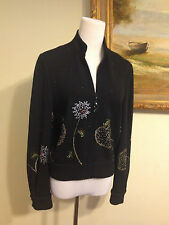 St. John Knit Black Beads and Studs Flower Frog Design Jacket Sweater Size 6