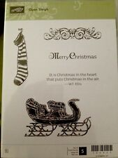 """OPEN SLEIGH"" Stampin'UP! NEW~CLEAR/CLING unmounted-Merry Christmas~Stocking~"