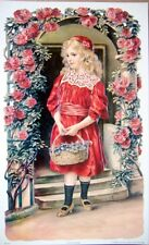 art print~MAY FLOWERS~Victorian girl in red roses violets child vtg repro 9x14
