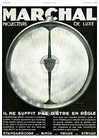 Publicité ancienne voiture projecteurs de luxe Marchal 1931 issue de magazine