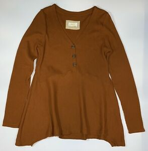 Anthropologie Maeve Eliza Henley Babydoll Waffle Knit Tunic Top Brown Medium