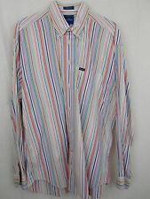 Faconnable Shirt XL Colorful Stripes Button Down Extra Large 100% Cotton Mens