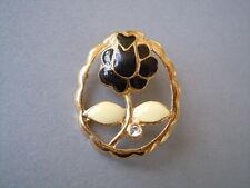 Goldfarbene Modeschmuck Brosche Email & Strass Stein Rose 8,4 g/3,3 x 2,7 cm