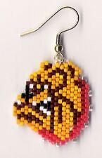 "A pair of hand beaded Bulldawg Dog head dangle earrings. 1 1/8"" long"