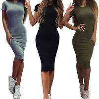 Women's Crew Neck Narrow Waist Short Sleeve Bodycon Plain Ruched Slim Fit Dress