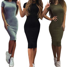 Women's Crew Neck Narrow Waist Short Sleeve Bodycon Party Evening Slim Fit Dress