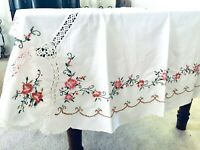"VTG Handmade Cross Stitched & Crocheted Tablecloth Pink, Coral Flowers 102""x65"""
