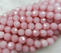 """AAA+ 6mm 8mm 10mm Perfect Natural Faceted Pink Jade Loose Beads Gemstone 15"""""""