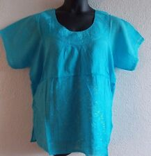 Top XL 1X Plus Tunic Blue Embroidery Cotton Round Scoop Ruched Neck NWT  VT25