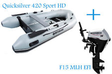 Quicksilver 420 Heavy Duty Grey Inflatable Boat and Mariner 15hp EFI Outboard