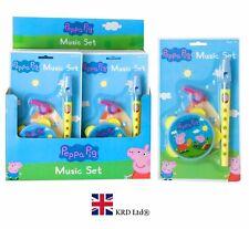 PEPPA PIG MUSIC SET Tambourine Flute Whistle Instrument Band Birthday Toy Gift