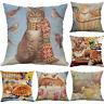 "18"" Cartoon Cat Cotton Linen Pillow Case Throw Cushion Cover Vintage Home Decor"