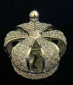 Silver Crushed Diamond Sparkly Crown King Queen Ornament Shelf Sitter
