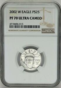2002 1/4 PLATINUM OZ. AMERICAN EAGLE $25 QUARTER OUNCE P$25 ULTRA CAMEO NGC PF70