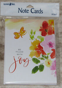 LEANIN TREE Be Filled With Joy #35618~Pack of 8 Notecards~Colorful Interior~