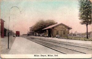 Postcard Milan Railroad Depot in Milan, Indiana~4164