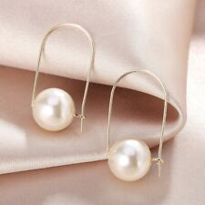 925 Sterling Silver+18K Gold Filled Lab-Created Pearl Stylish Oval Hoop Earrings
