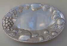 """Tray Platter Oval Embossed Pewter Noble Excellence Napa Valley 12"""""""
