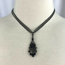 1928 Black Organza Ribbon Rhinestone Teardrop Pendant Necklace Beaded Dangle